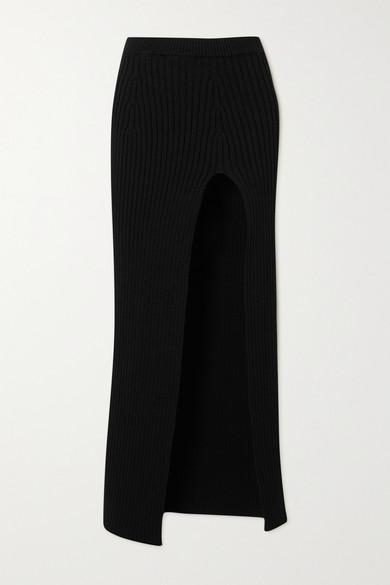 Meryll Rogge - Ribbed Wool Maxi Skirt - Black