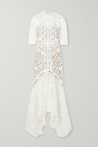 Costarellos Linings KALISSA ASYMMETRIC GUIPURE LACE GOWN