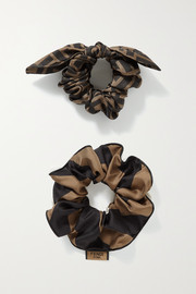 Fendi Set of two printed silk-twill hair ties