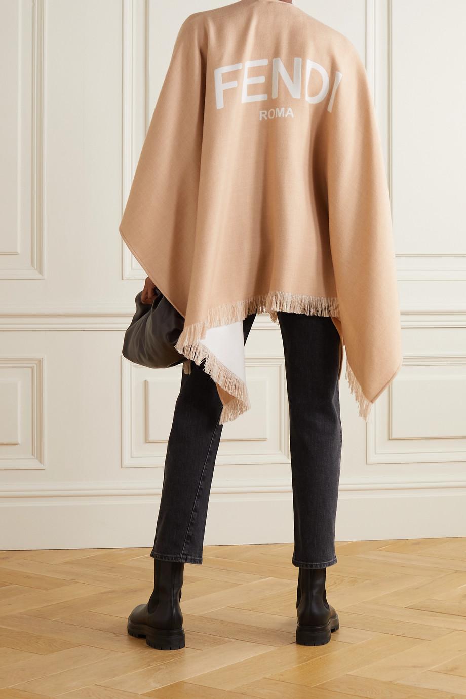Fendi Poncho en laine jacquard à franges