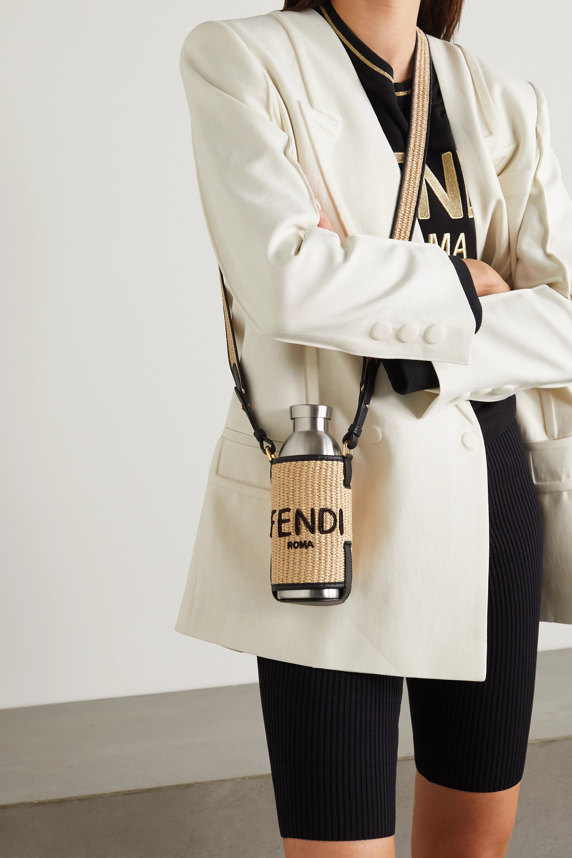 Fendi Leather-trimmed woven raffia bottle and holder