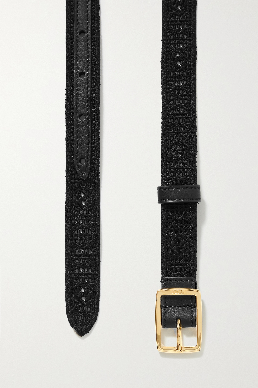 Fendi Leather-trimmed crochet-knit belt