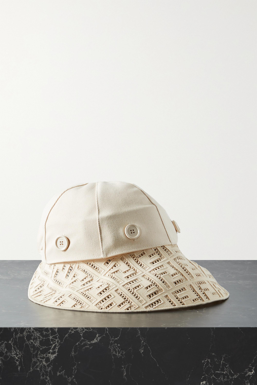 Fendi Convertible crochet-trimmed cotton-canvas hat