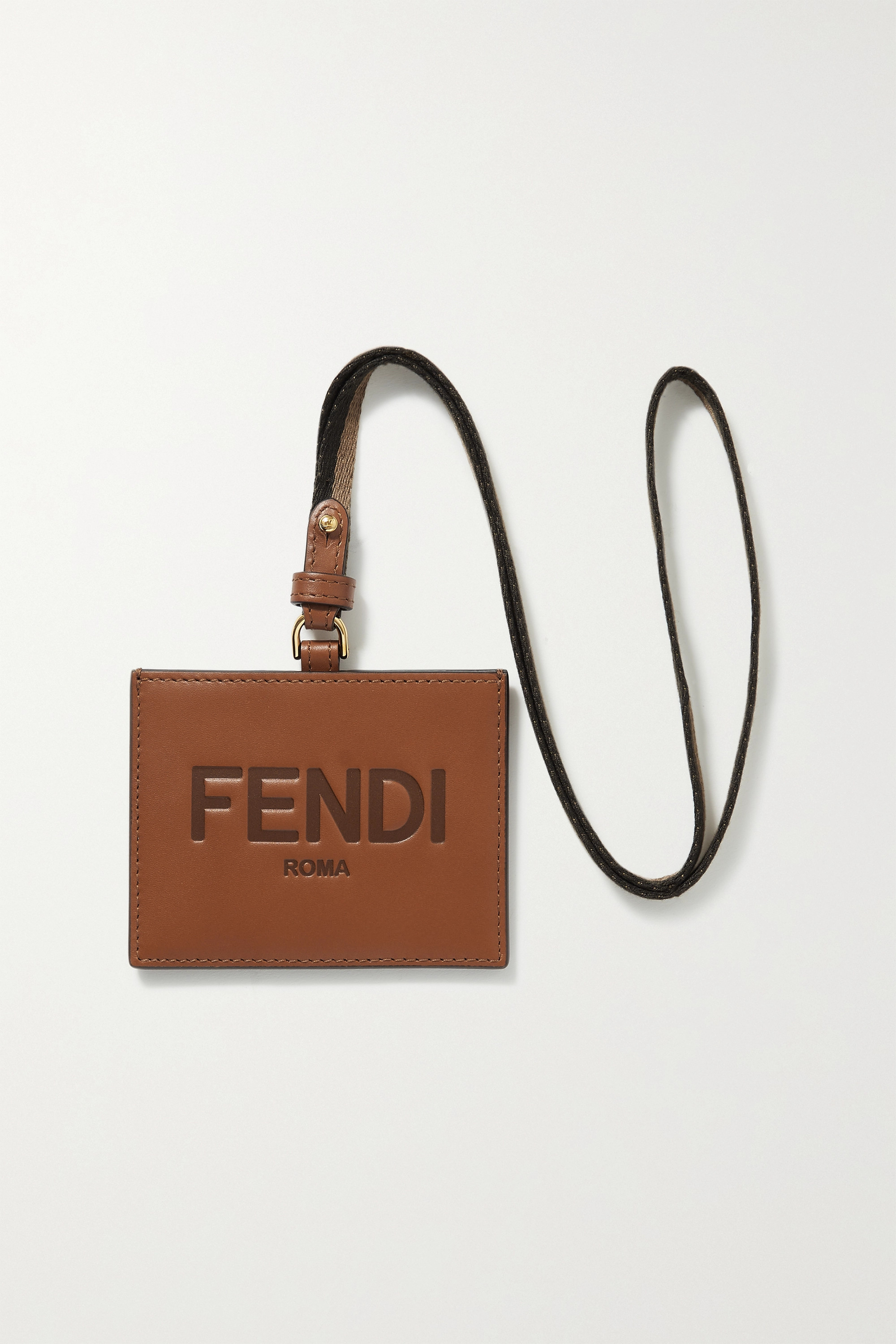 Fendi PVC and canvas-trimmed leather cardholder