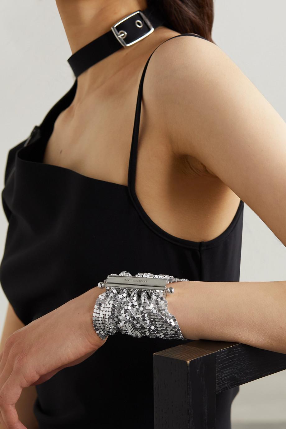 Paco Rabanne Bracelet en cotte de mailles et métal argenté Pixel