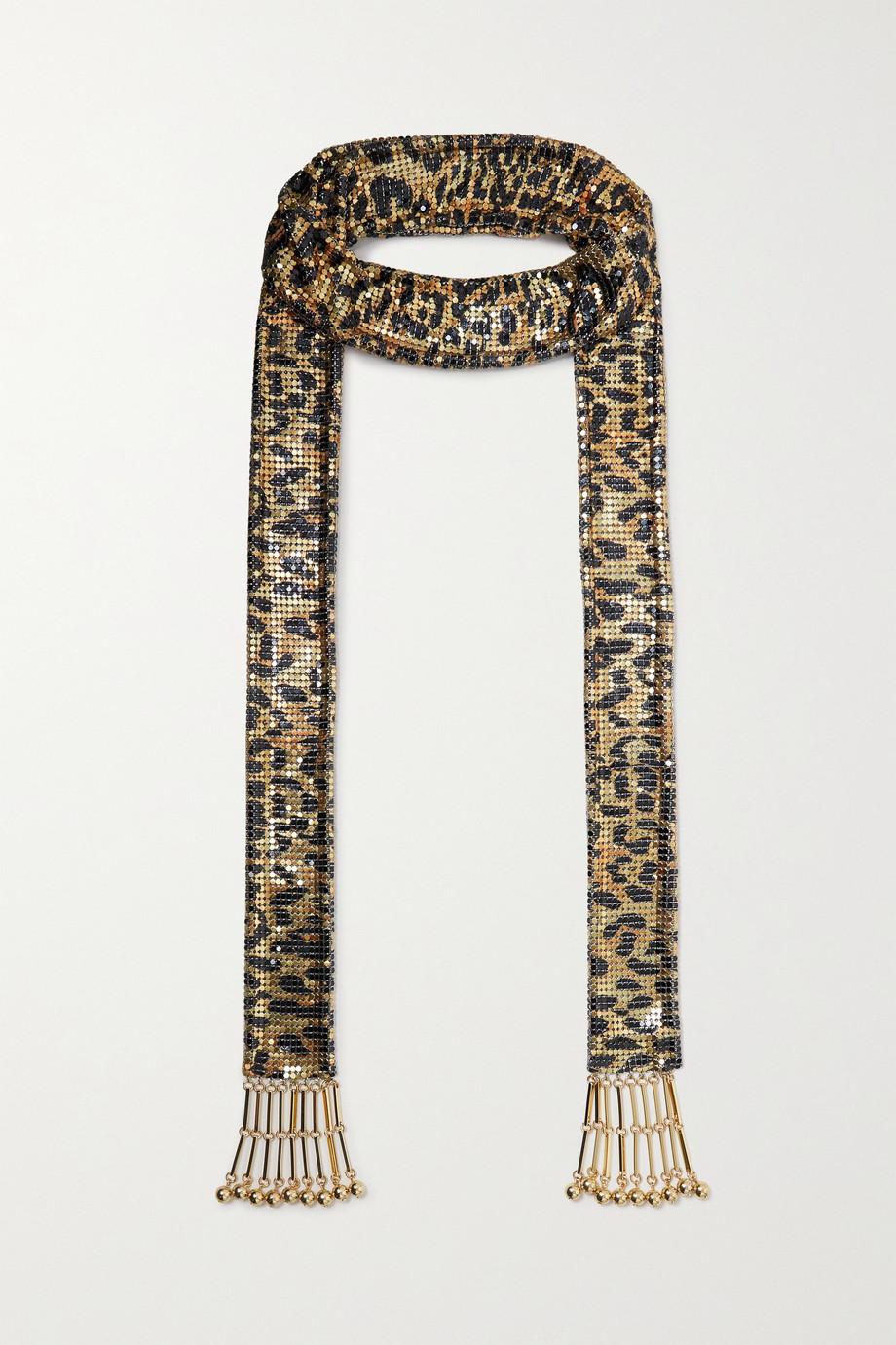 Paco Rabanne Pixel tasseled leopard-print chainmail scarf