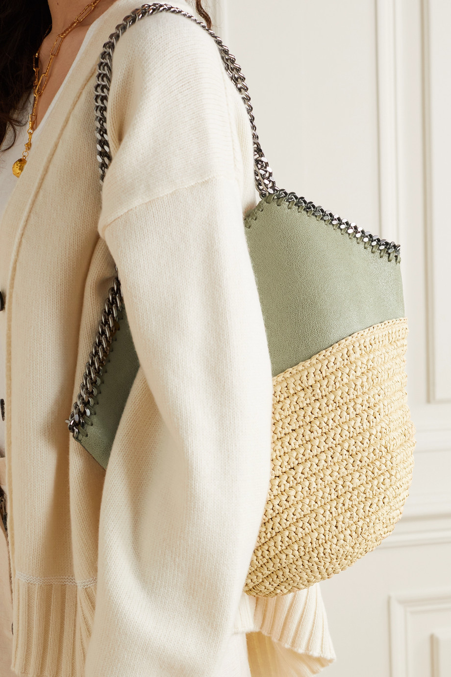 Stella McCartney The Falabella medium vegetarian brushed-leather and raffia tote