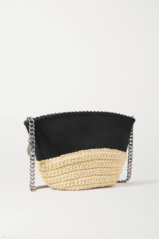 Stella McCartney Falabella Schultertasche aus gebürstetem Kunstleder und Raffiabast