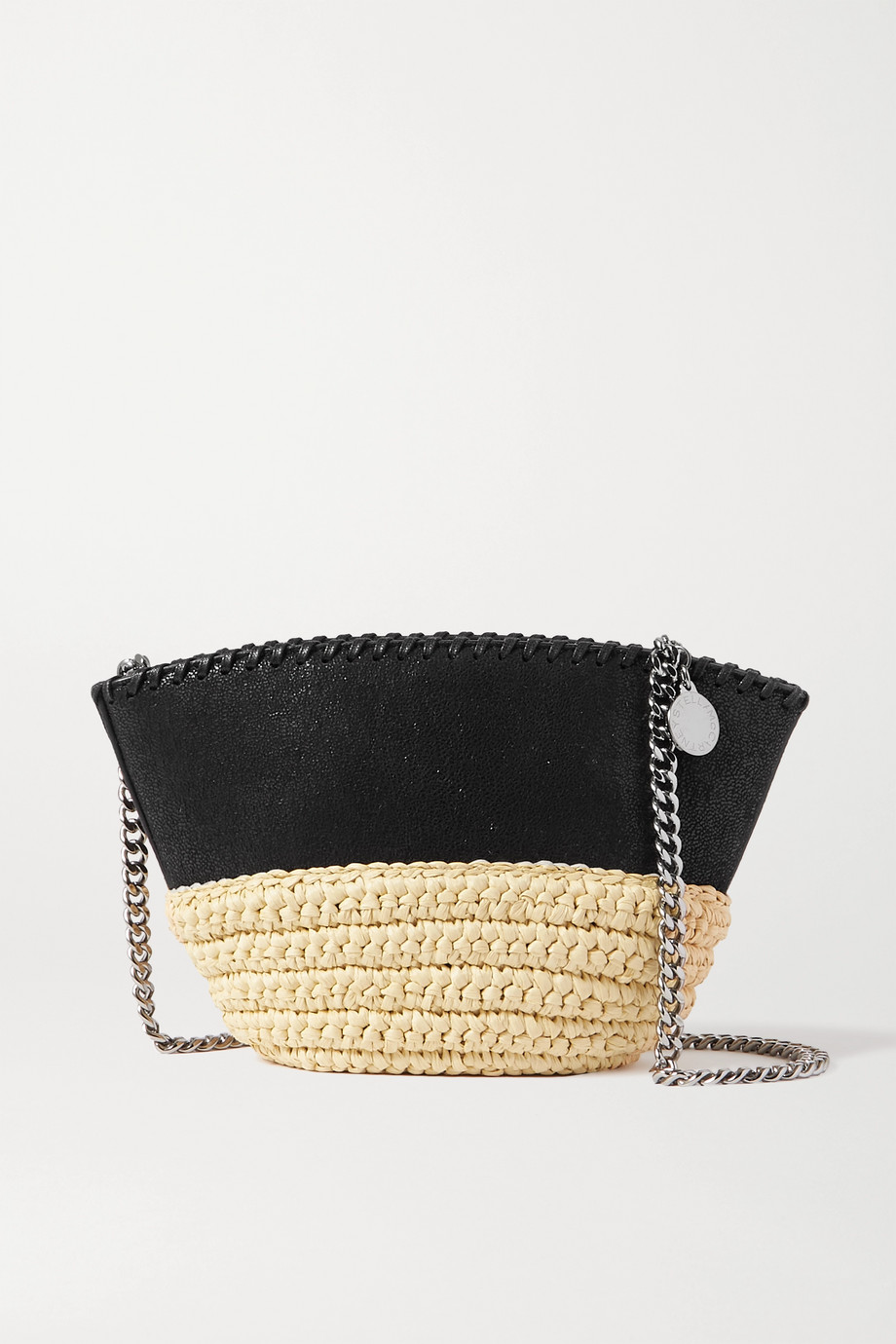 Stella McCartney The Falabella vegetarian brushed-leather and raffia shoulder bag