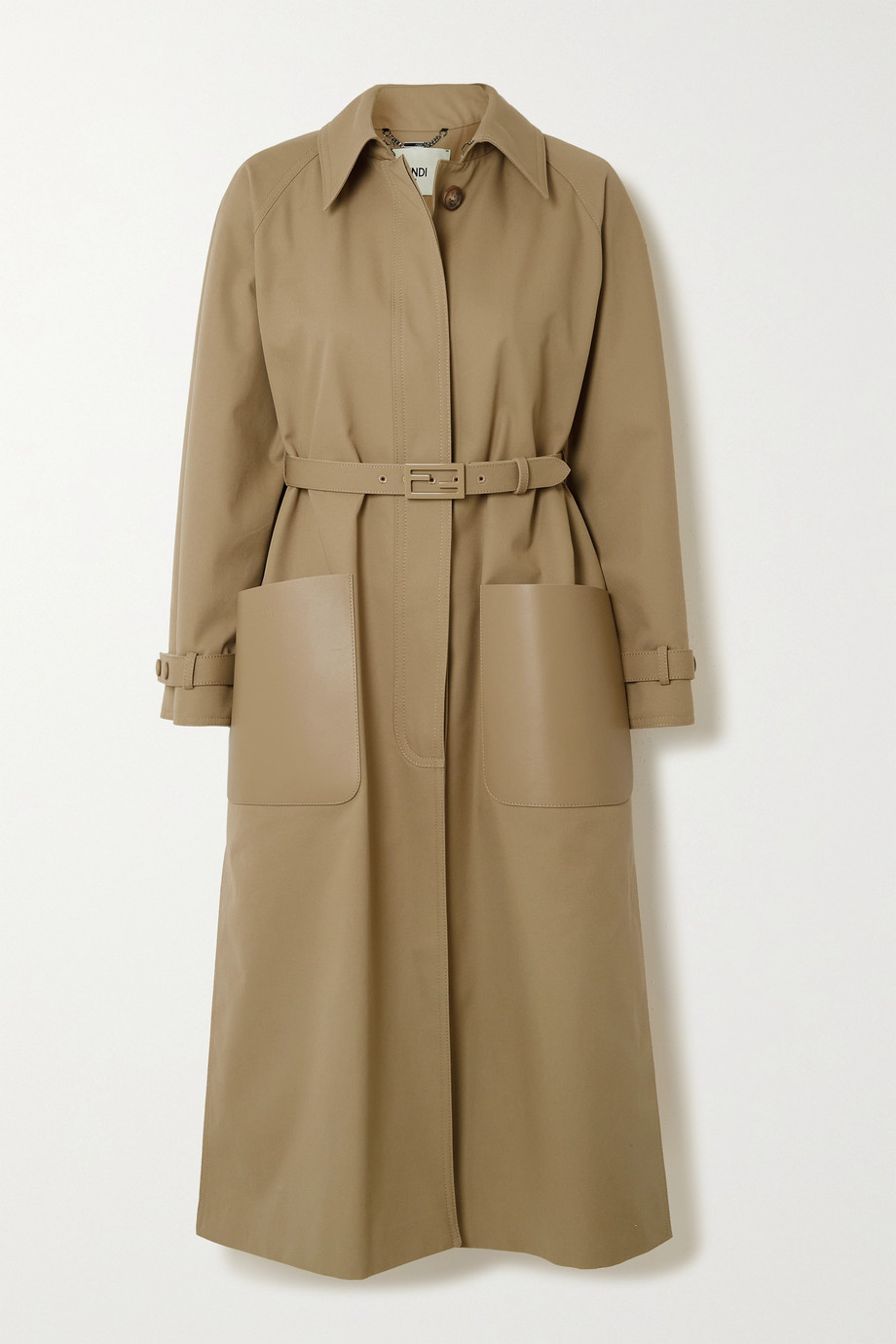 Fendi Belted leather-trimmed twill trench coat