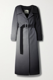 Fendi Off-the-shoulder belted ombré wool coat
