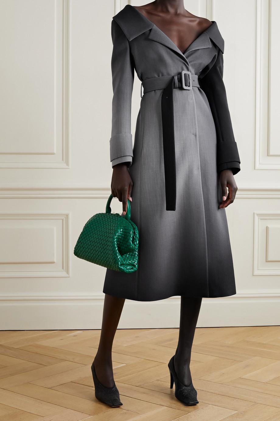 Fendi Manteau épaules nues en laine ombrée à ceinture