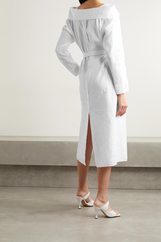 Fendi Schulterfreies Midi-Hemdblusenkleid aus Leinen-Voile mit Gürtel