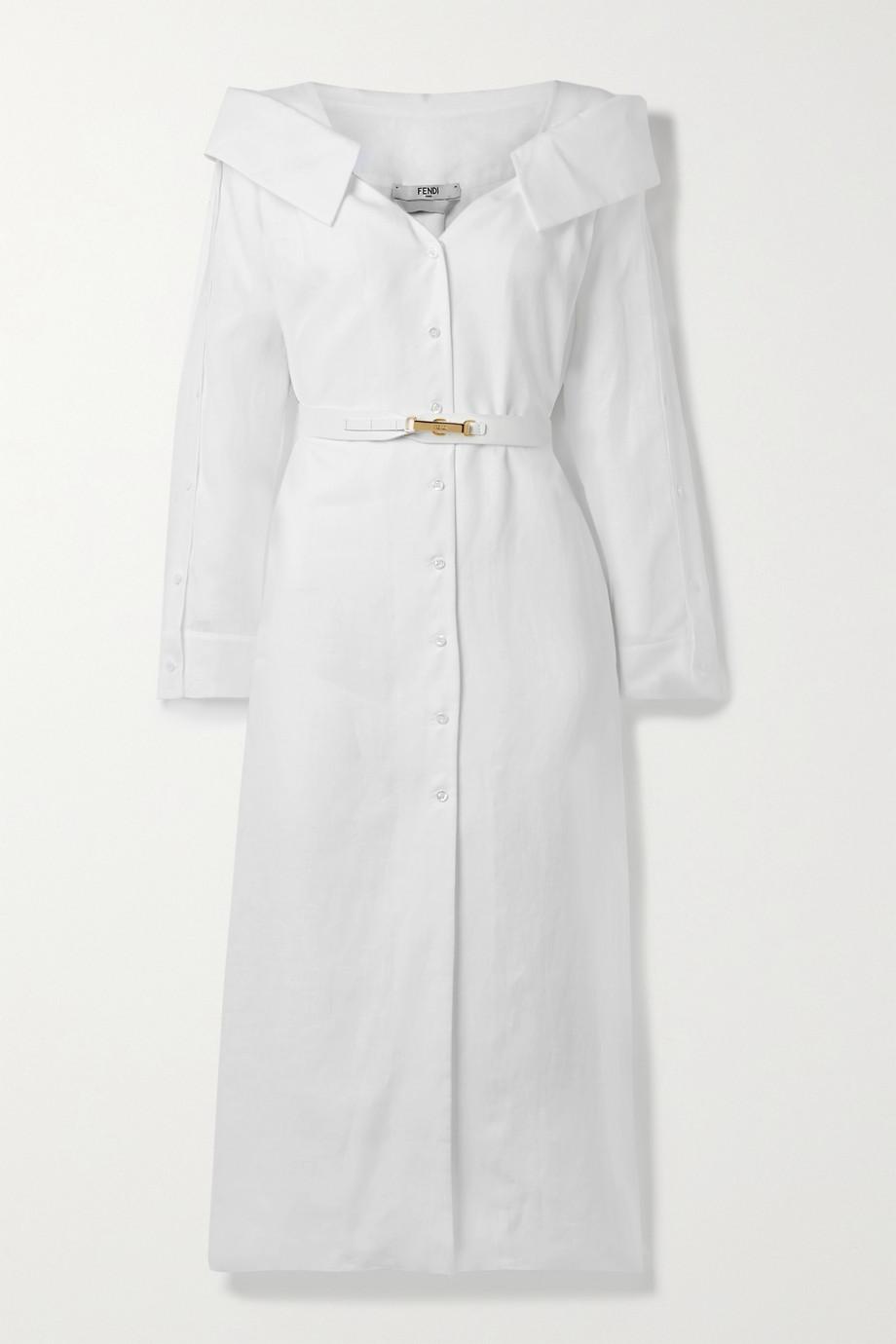Fendi Robe-chemise midi épaules nues en voile de lin à ceinture