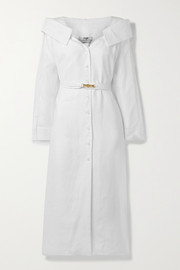 Fendi Off-the-shoulder belted linen-voile midi shirt dress