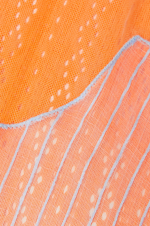 Fendi Robe en mailles pointelle à superposition en organza de soie à broderies