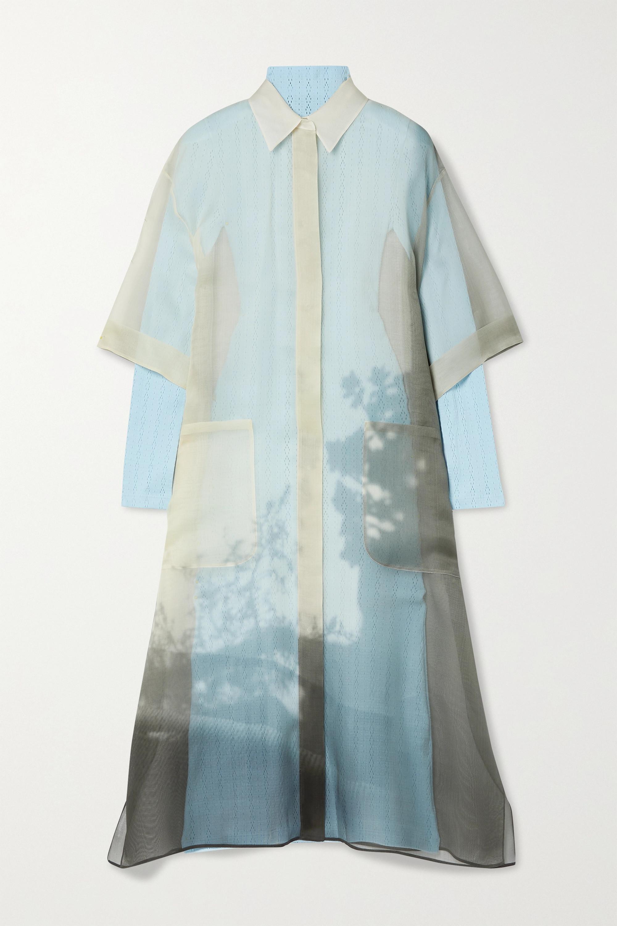 Fendi Layered printed silk-organza and pointelle-knit midi dress