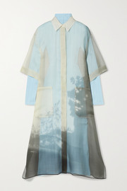Fendi Layered printed silk-organza and pointelle-knit midi dress