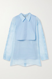 Fendi Silk-organza and cotton-poplin blouse
