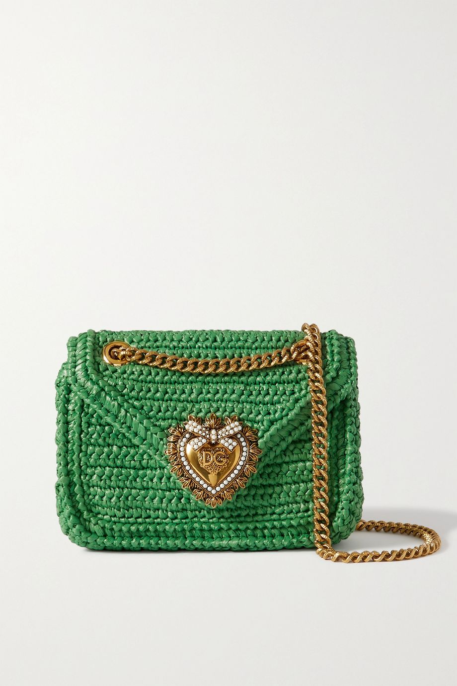 Dolce & Gabbana Devotion small embellished raffia shoulder bag