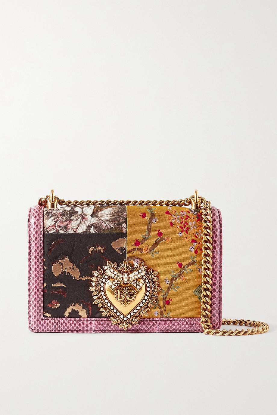 Dolce & Gabbana Devotion embellished floral-jacquard and watersnake shoulder bag