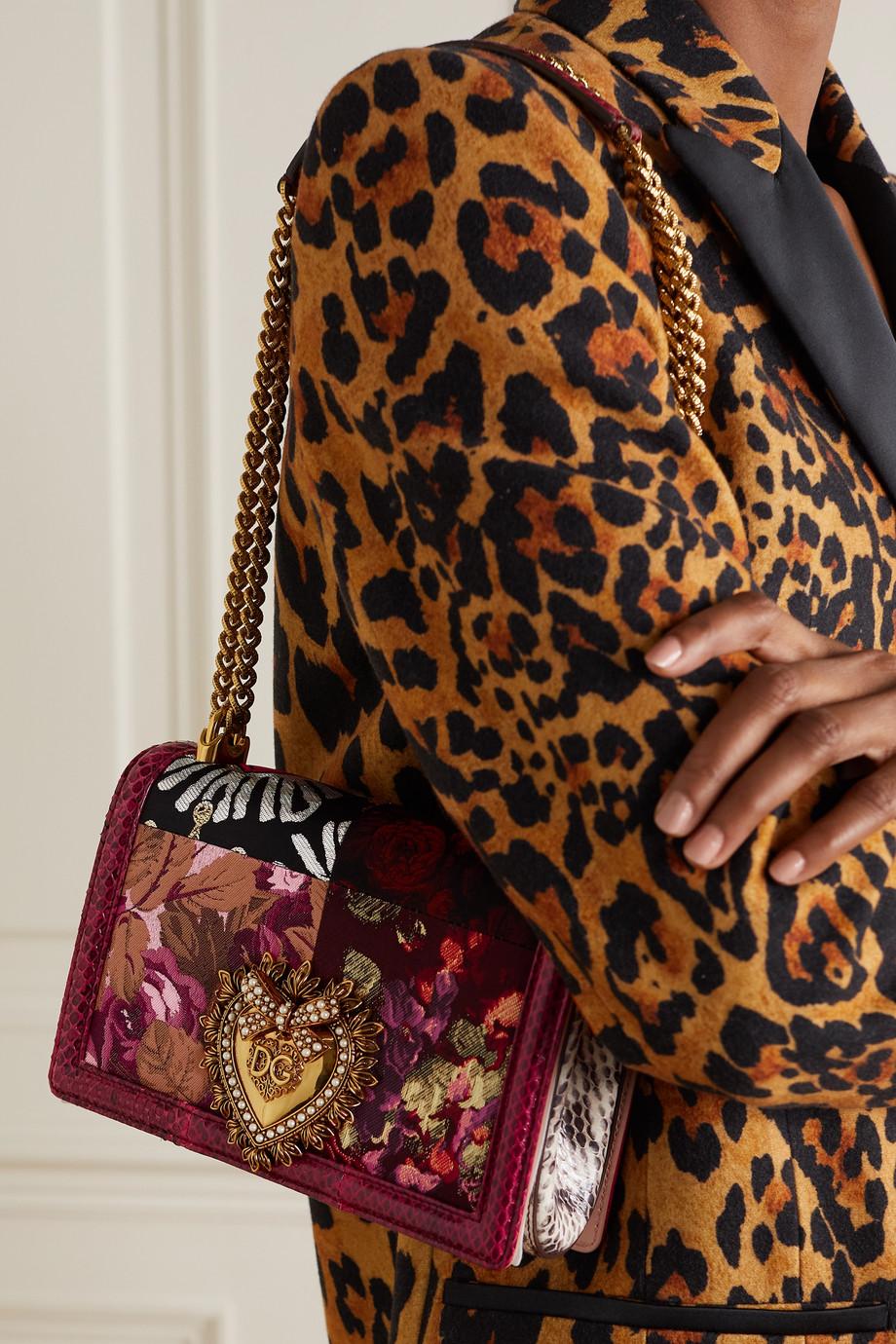 Dolce & Gabbana Sac porté épaule en jacquard fleuri et serpent d'eau à ornements Devotion