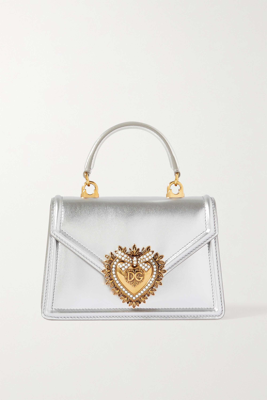 Dolce & Gabbana Devotion mini Tote aus Metallic-Leder mit Verzierung