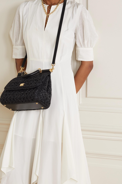 Dolce & Gabbana Sicily medium leather-trimmed woven raffia tote