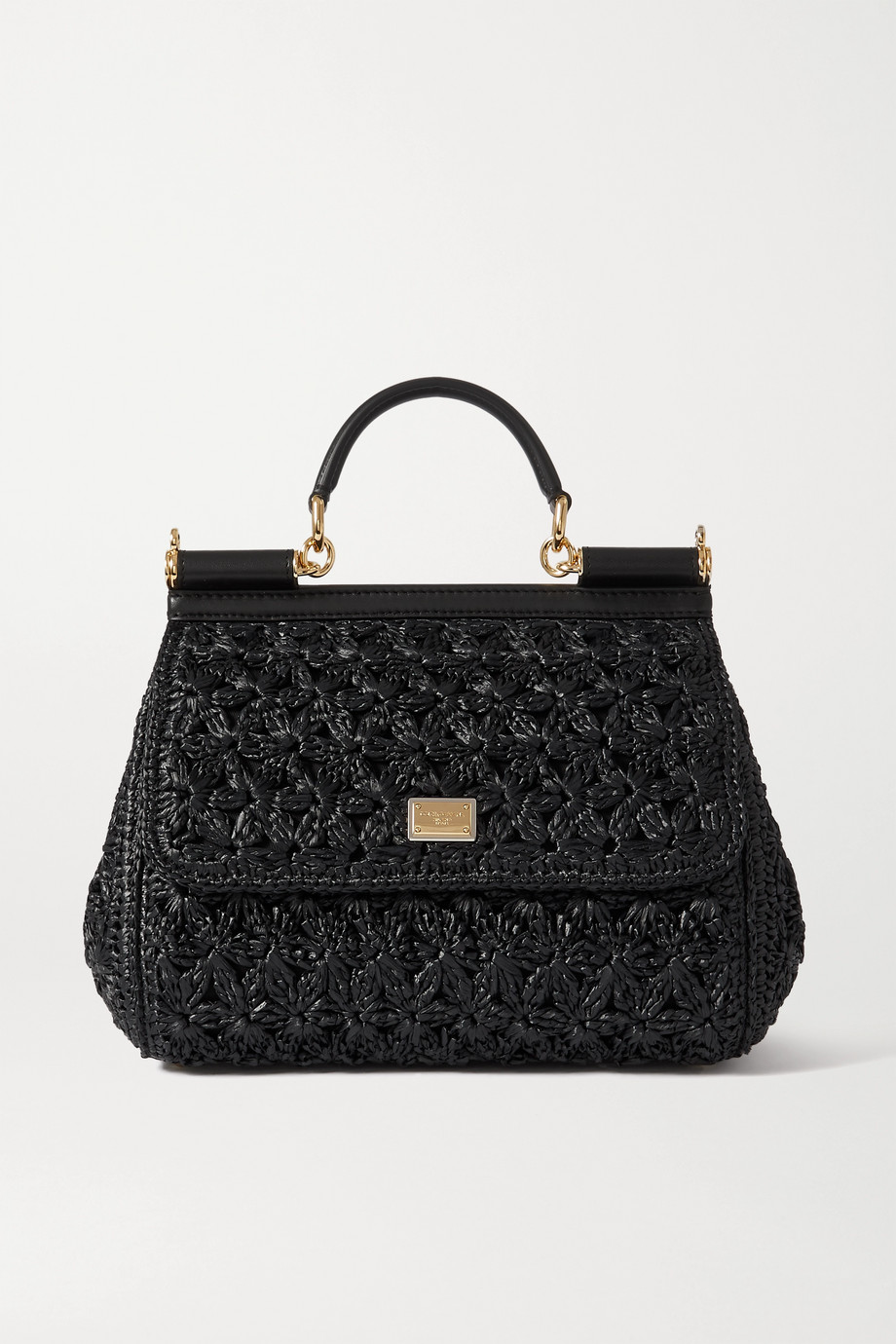 Dolce & Gabbana Sicily medium leather-trimmed woven raffia tote