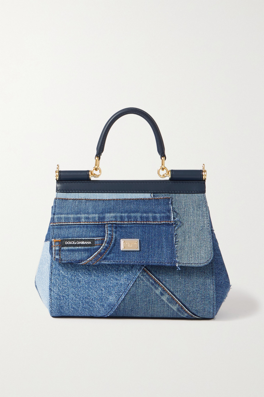 Dolce & Gabbana Sicily leather-trimmed patchwork denim tote