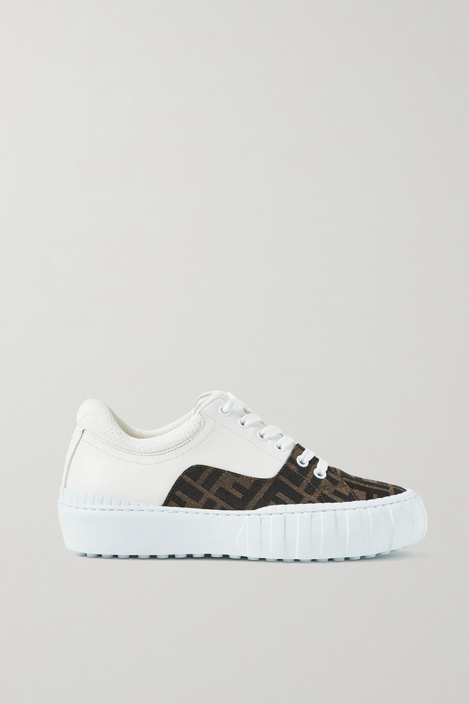 Fendi Sneakers aus Canvas mit Logomuster und Leder mit Mesh-Besatz