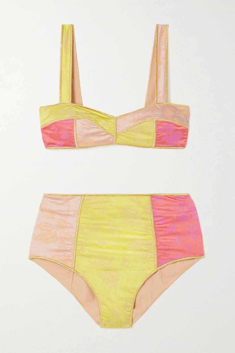 Oséree Blossom Colorè floral-jacquard bikini
