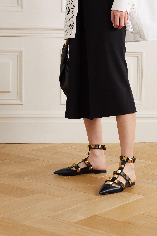 Valentino Valentino Garavani Roman Stud flache Schuhe aus Leder