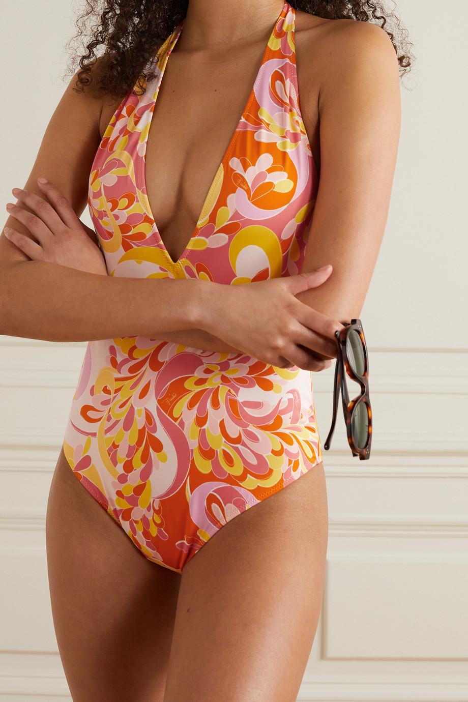 Emilio Pucci + NET SUSTAIN printed halterneck swimsuit