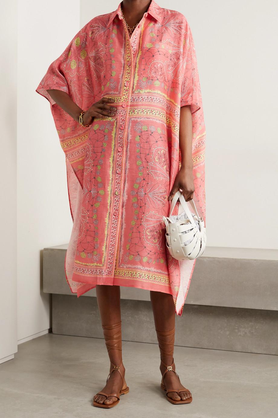 Emilio Pucci + NET SUSTAIN Oversized-Kaftan aus einer Mischung aus Leinen, Baumwolle und Seide mit Print