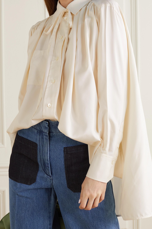 Victoria Beckham Oversized pussy-bow gathered silk blouse