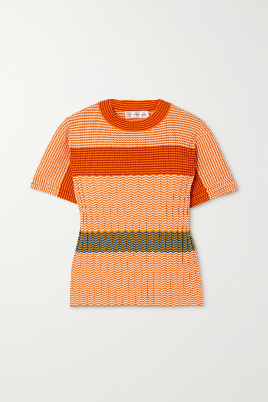 Victoria Beckham Striped ribbed cotton T-shirt