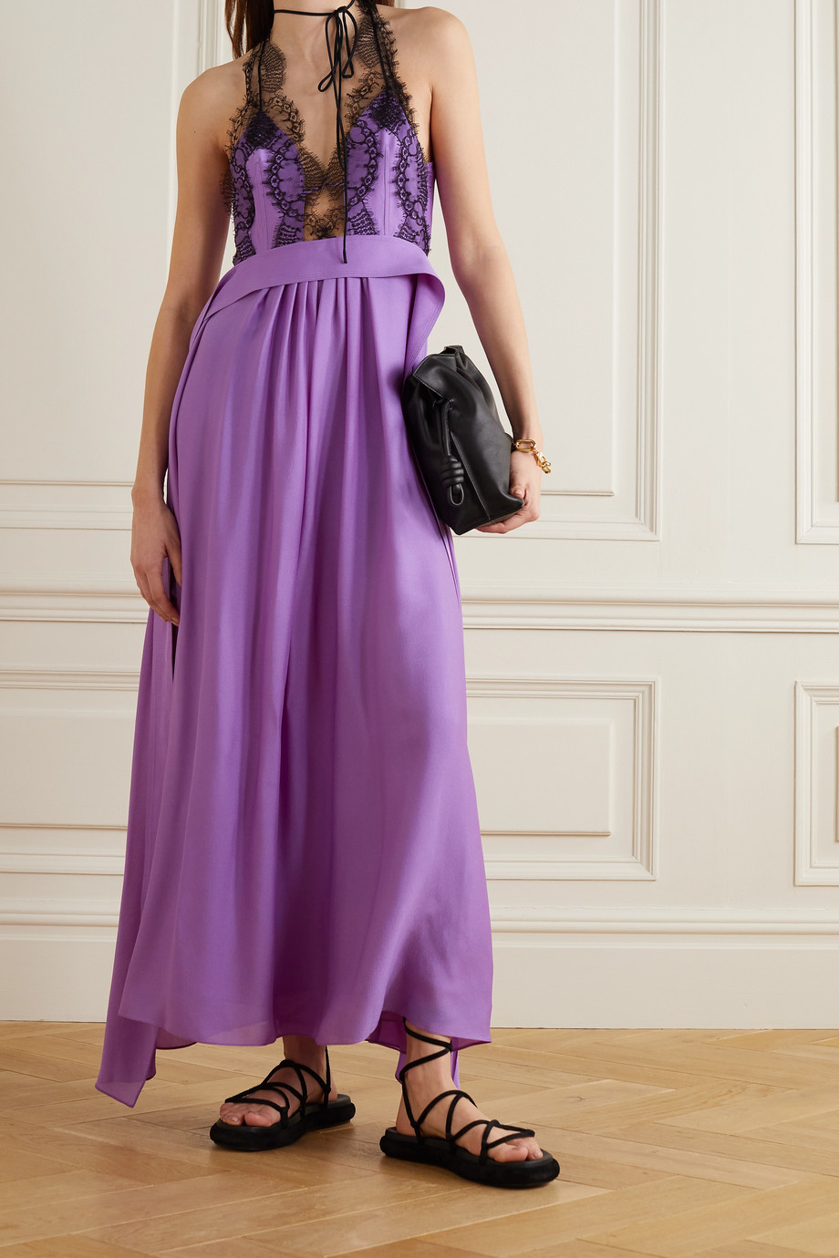 Victoria Beckham Kleid aus Seide und Spitze mit Rücken-Cut-out