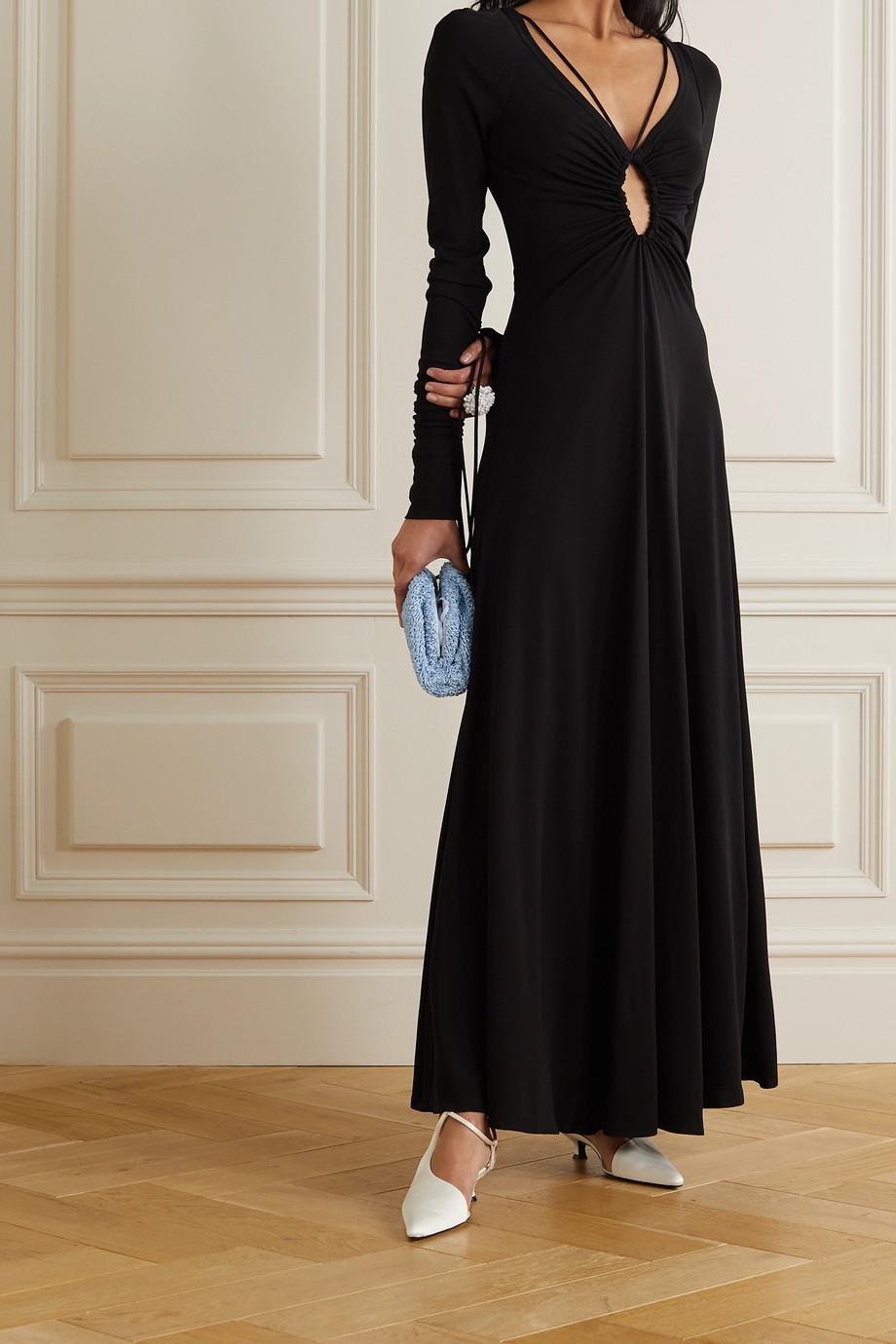 Victoria Beckham Ruched cutout jersey maxi dress