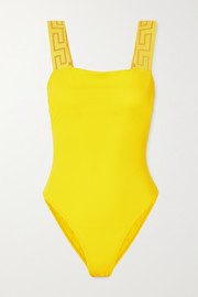 Versace Jacquard-trimmed swimsuit