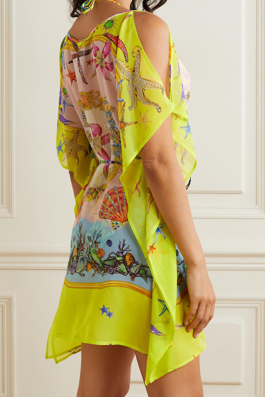 Versace La Medusa belted printed silk crepe de chine kaftan