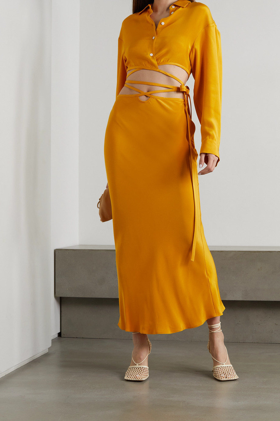 Christopher Esber Tie-detailed silk-satin maxi skirt