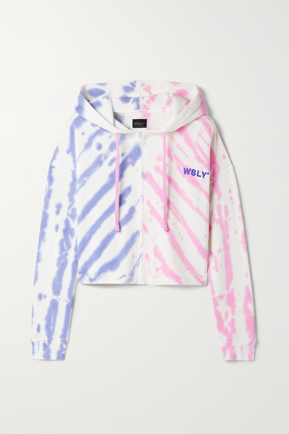 WSLY The Ecosoft cropped tie-dyed organic cotton-blend jersey hoodie