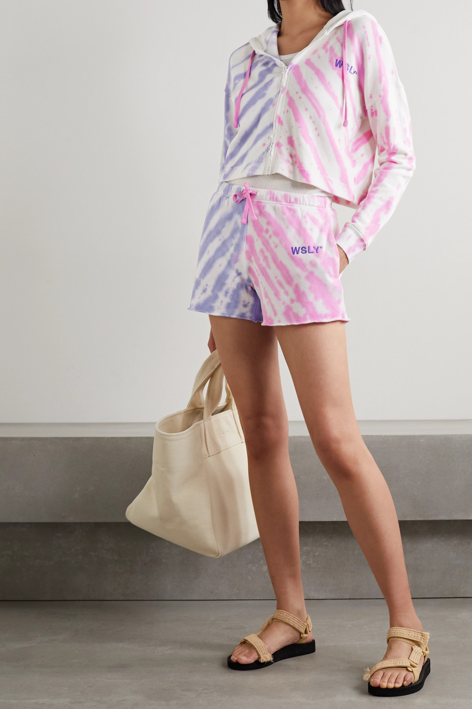 WSLY The Ecosoft tie-dyed organic cotton-blend jersey shorts