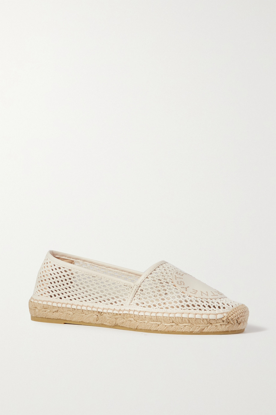 Stella McCartney Selene logo-appliquéd vegetarian leather-trimmed mesh espadrilles