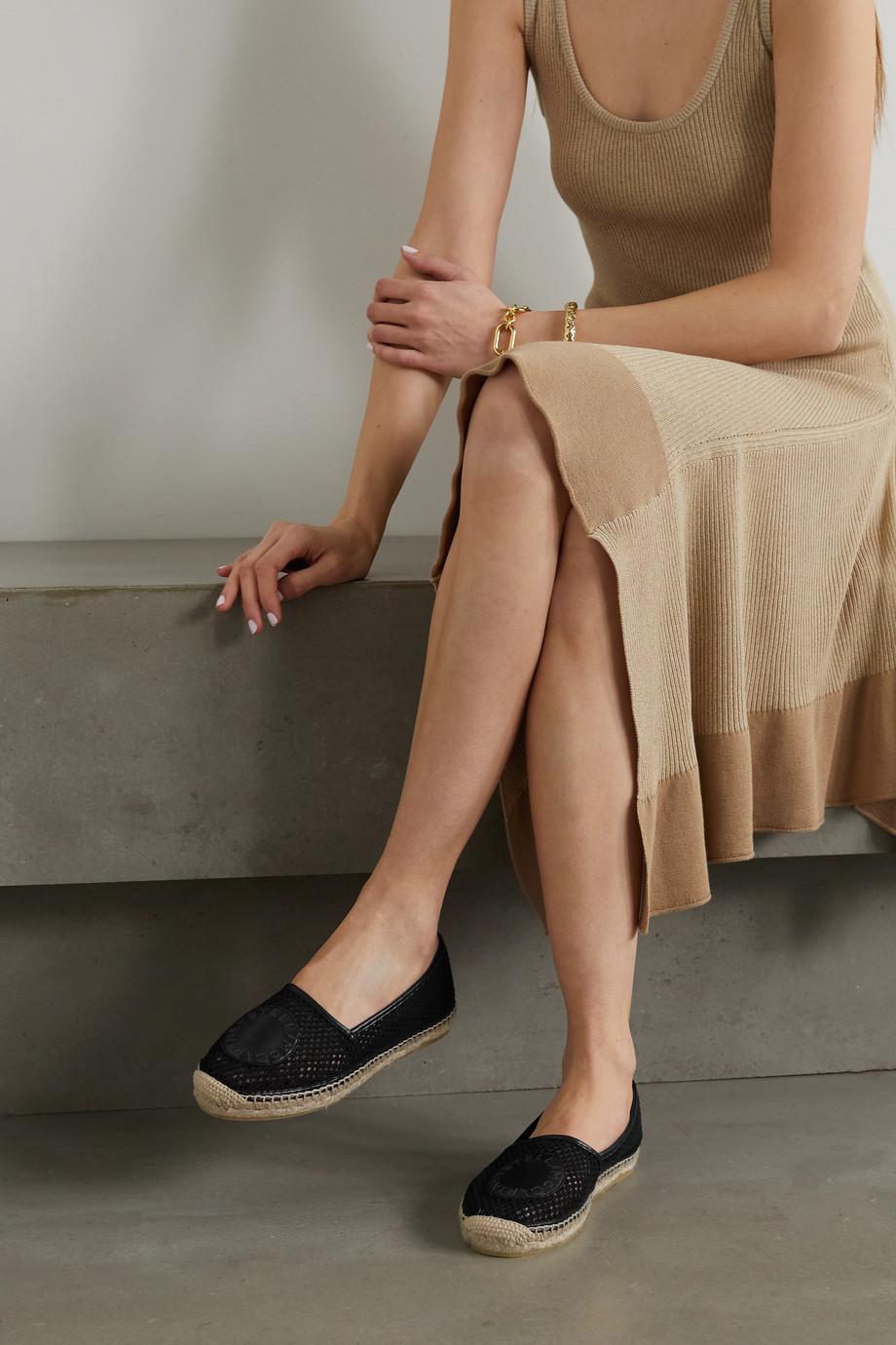 Stella McCartney Selene logo-appliquéd vegetarian leather-trimmed mesh espadrilles
