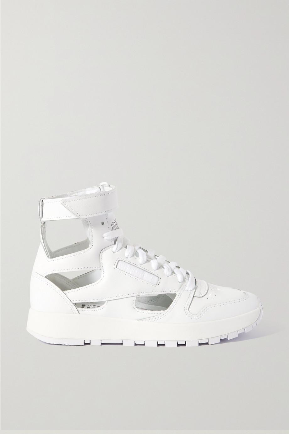 Maison Margiela + Reebok cutout split-toe leather high-top sneakers