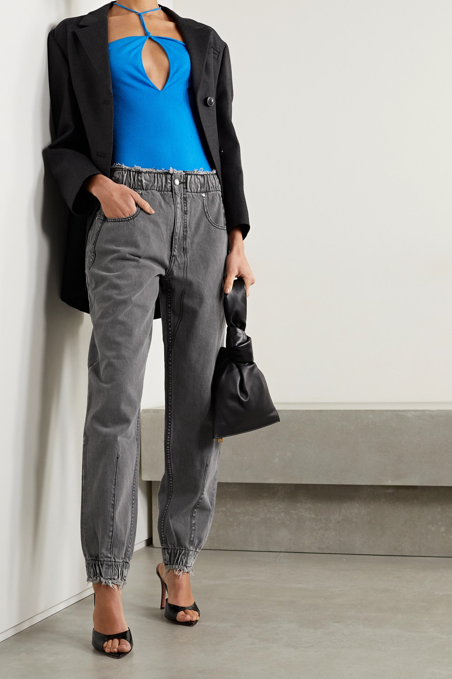 TRE by Natalie Ratabesi The Romy distressed high-rise tapered jeans