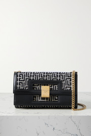 Balmain 1945 leather-trimmed jacquard shoulder bag