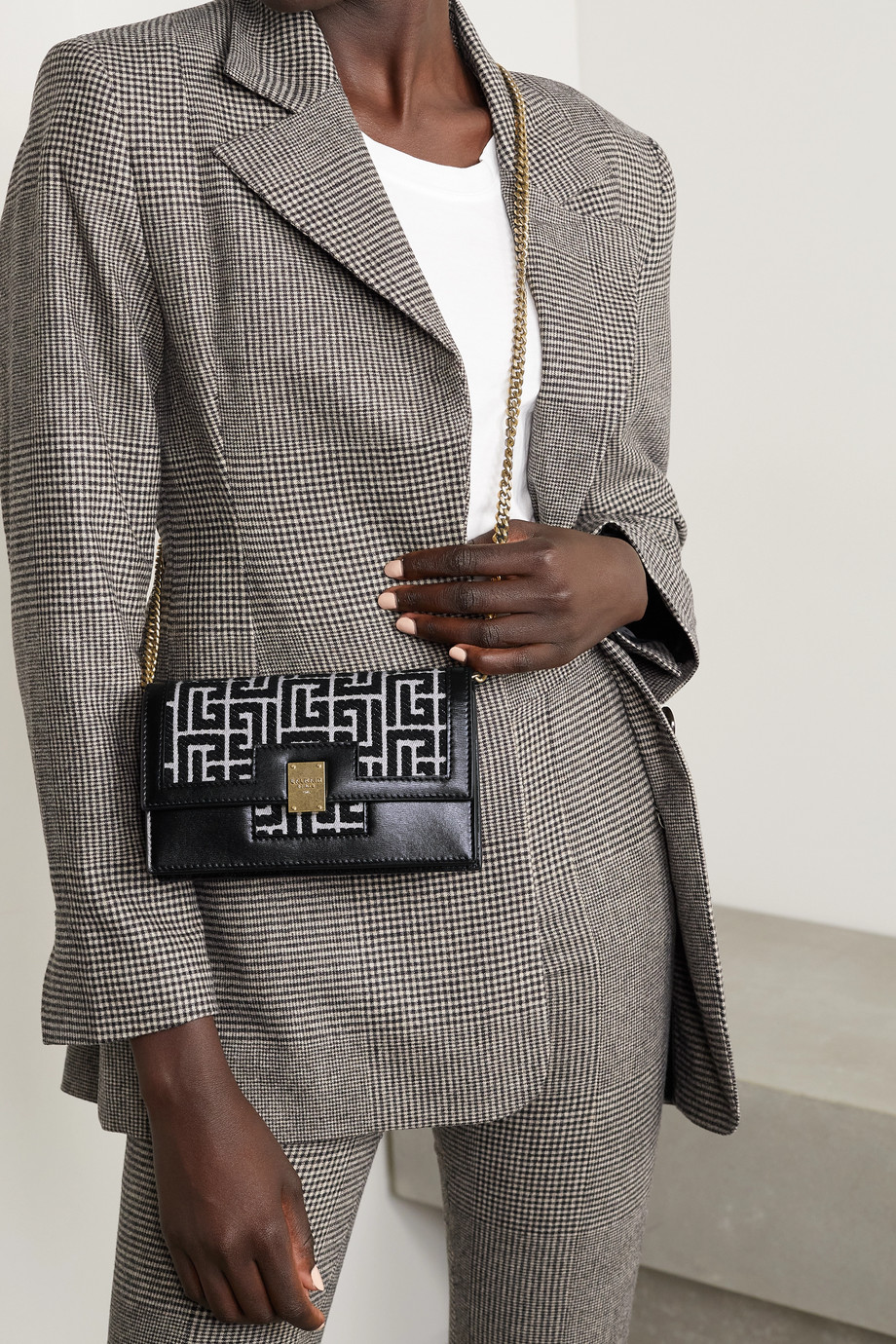 Balmain 1945 mini leather-trimmed jacquard shoulder bag
